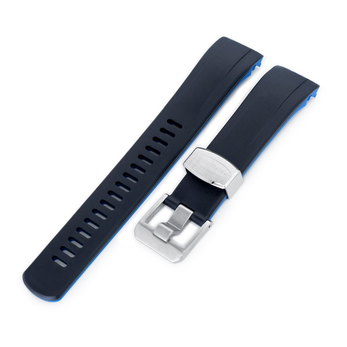 22mm Crafter Blue Dual Color Black & Blue Rubber Curved Lug Watch Strap for Seiko Samurai SRPB51 Strapcode Watch Bands