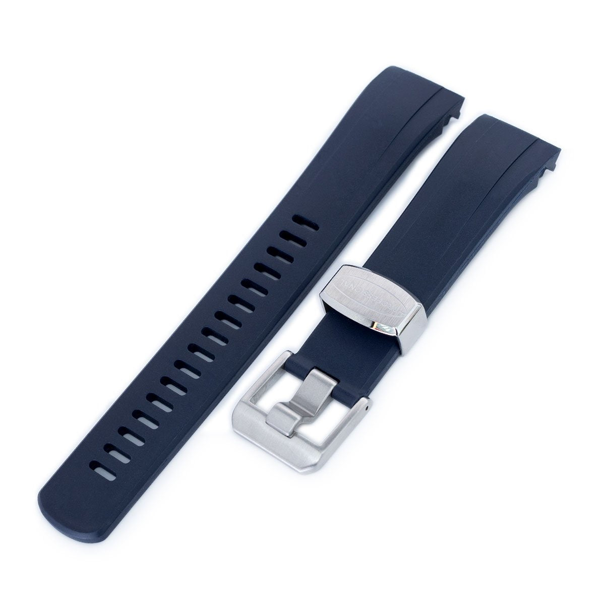 22mm Crafter Blue Dark Blue Rubber Curved Lug Watch Strap for Seiko Samurai SRPB51 Strapcode Watch Bands