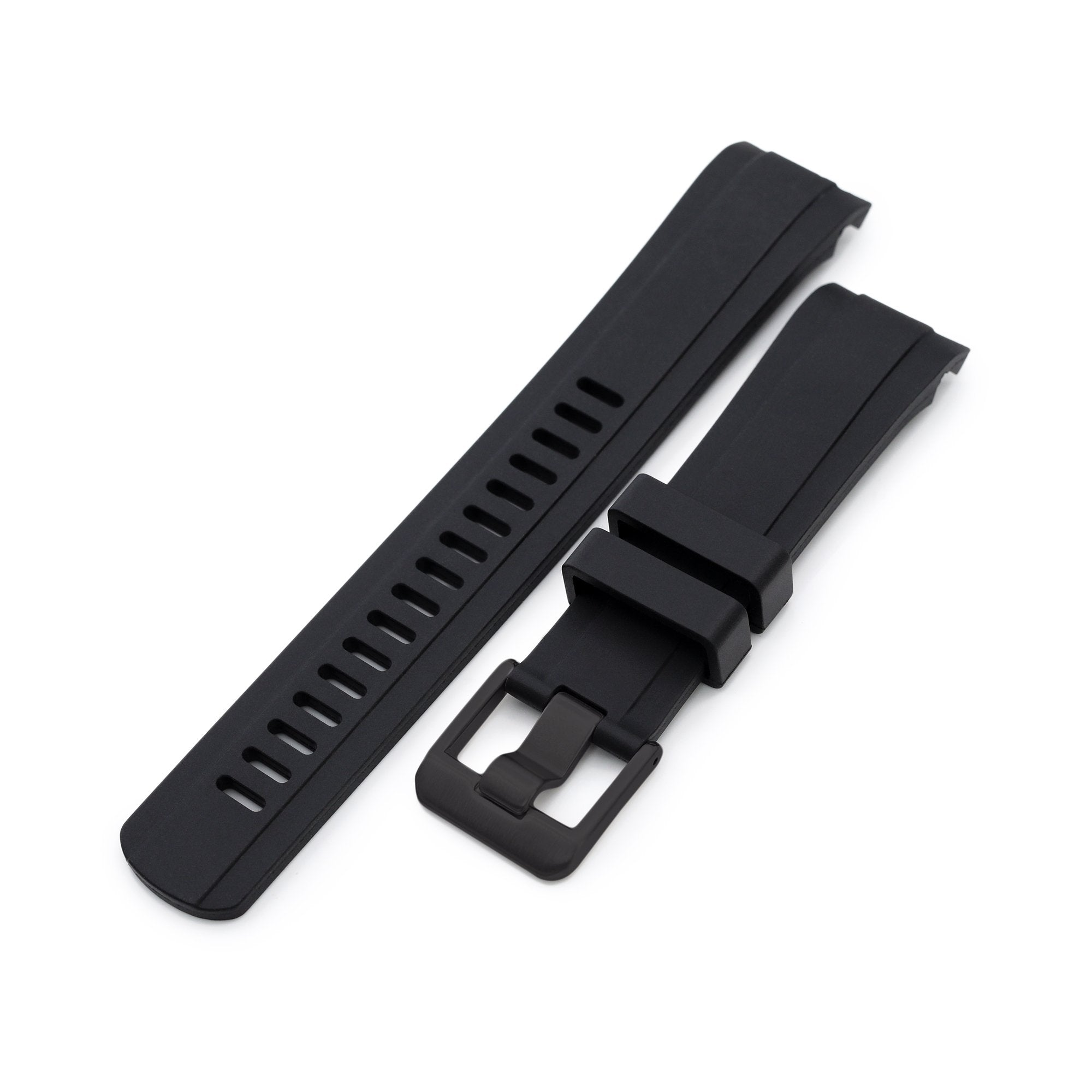 22mm Crafter Blue CB10 Black Rubber Curved Lug Watch Band for Seiko SKX007 Strapcode Watch Bands