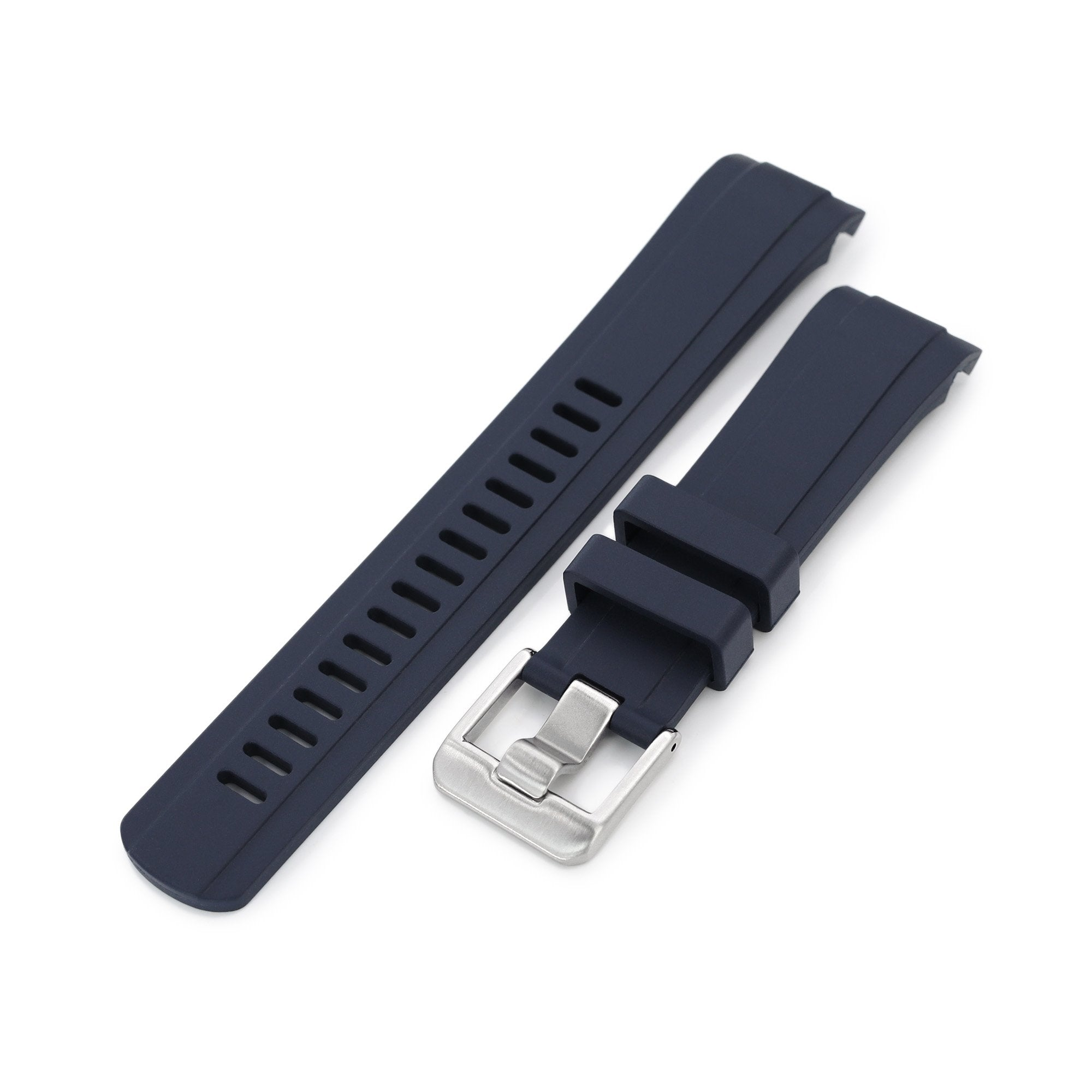 22mm Crafter Blue CB10 Blue Rubber Curved Lug Watch Band for Seiko SKX007 Strapcode Watch Bands