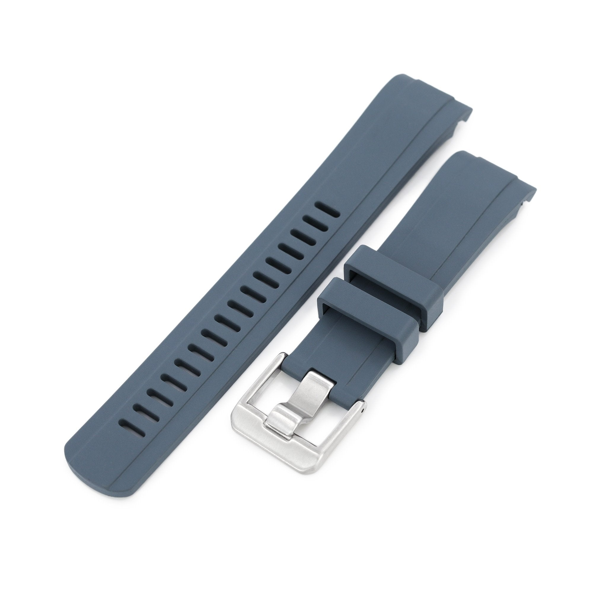 22mm Crafter Blue CB10 Grey Rubber Curved Lug Watch Band for Seiko SKX007 Strapcode Watch Bands