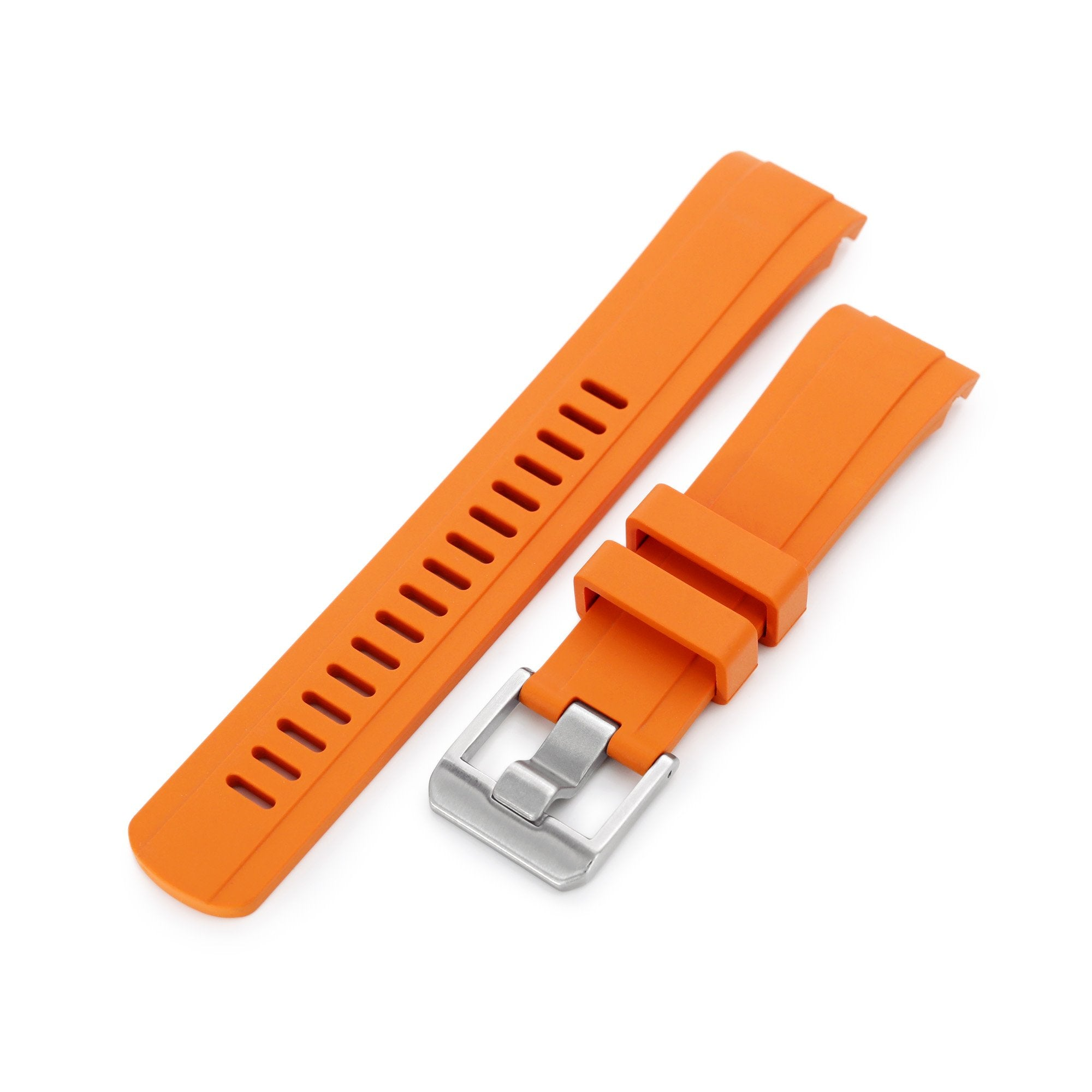 22mm Crafter Blue CB10 Orange Rubber Curved Lug Watch Band for Seiko SKX007 Strapcode Watch Bands