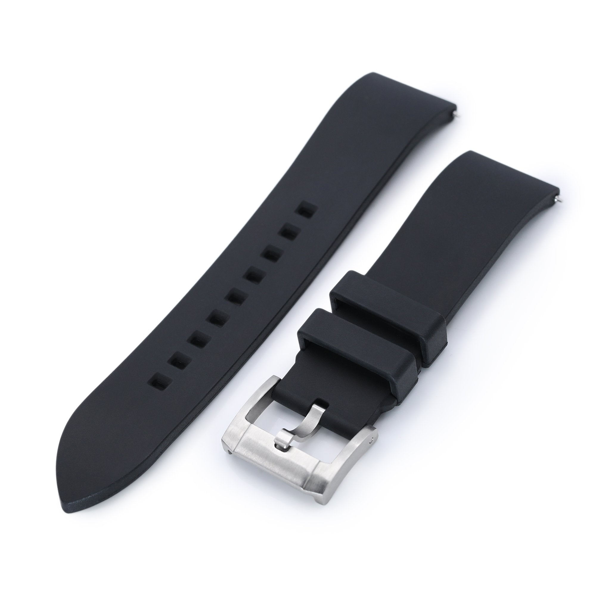 20mm or 22mm Straight End Black FKM Rubber Quick Release Watch Band Brushed Strapcode Watch Bands