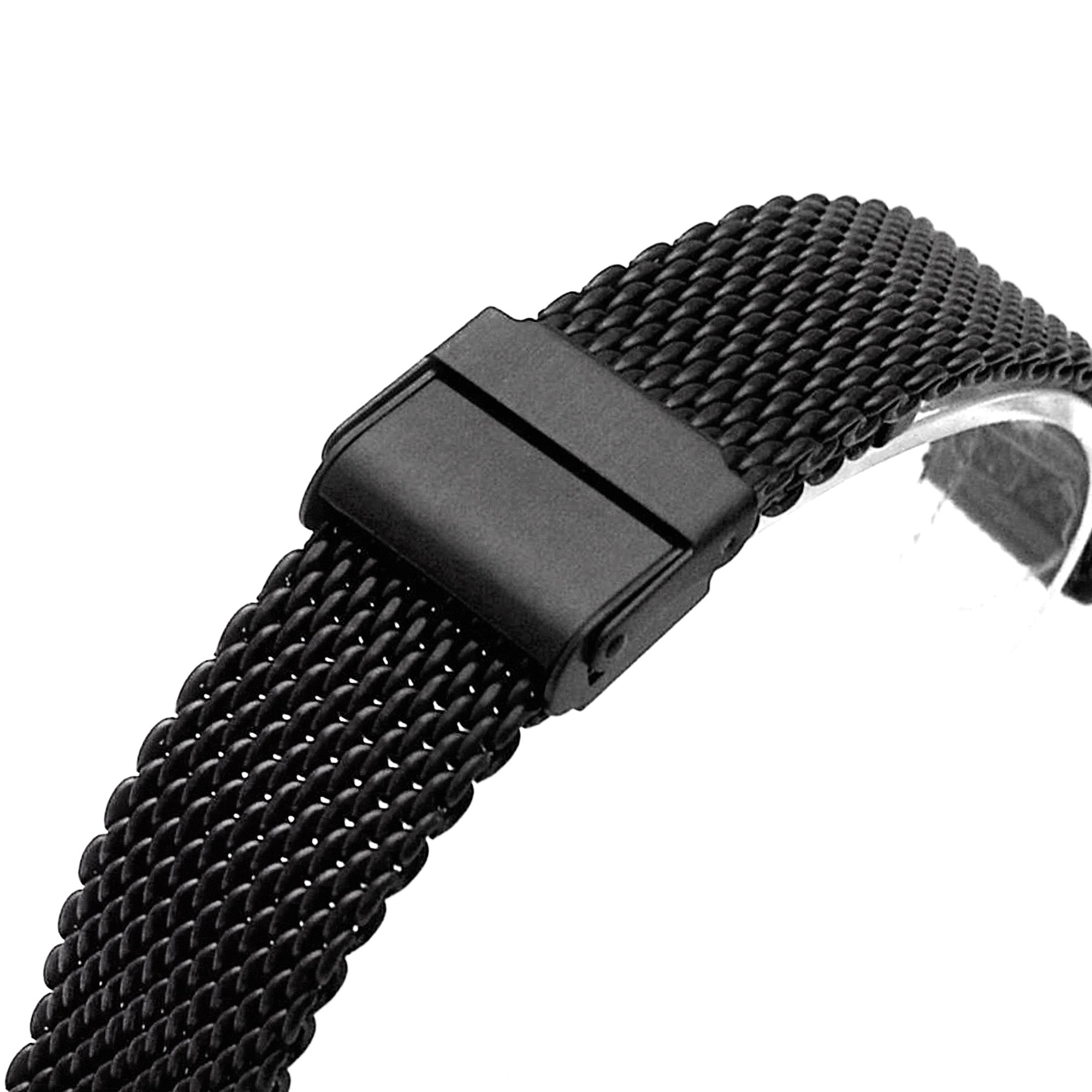 18mm, 20mm Interlocking Matte Black Mesh Divers Watch Band Bracelet
