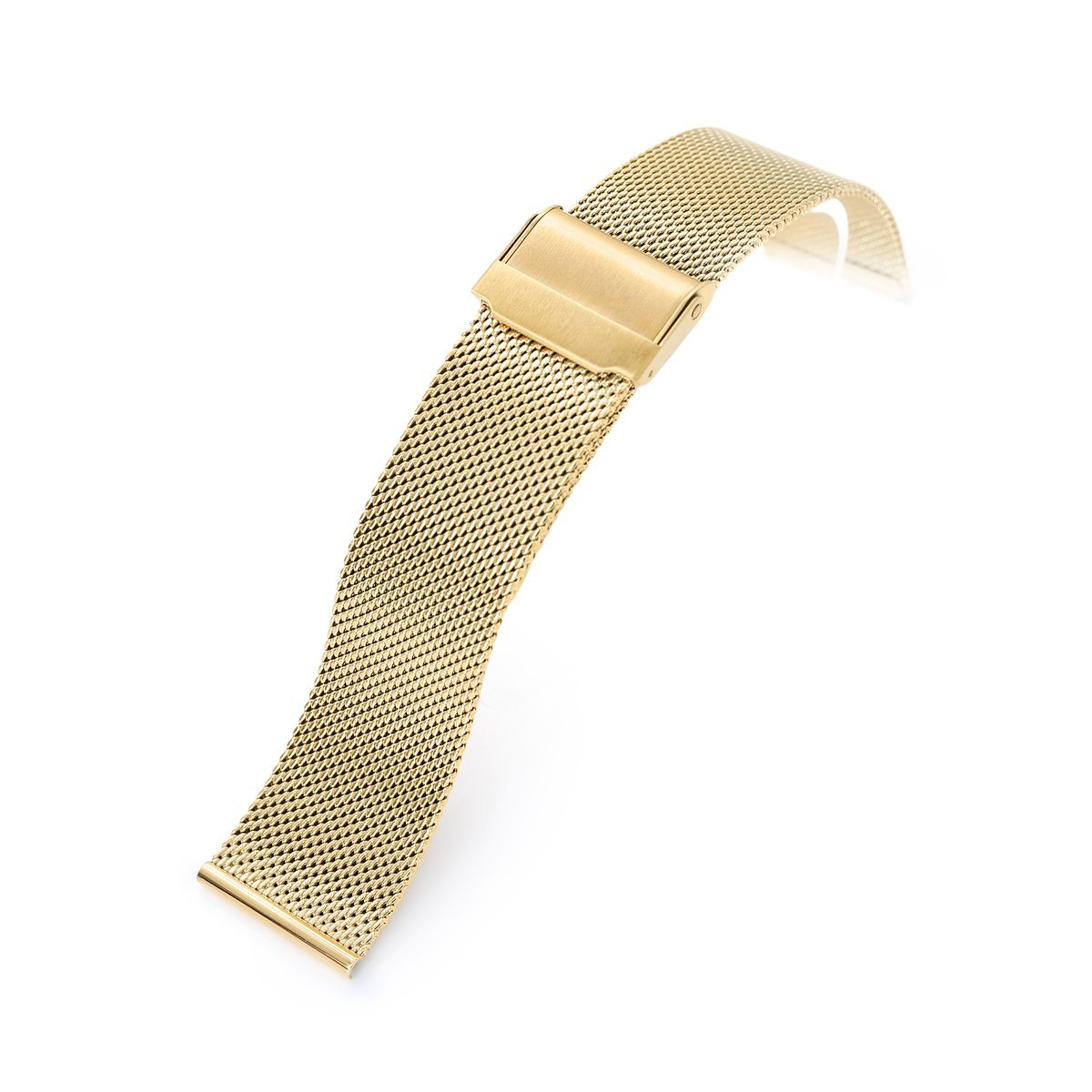 18mm 20mm or 22mm Classic Vintage Knitted Superfine Wire Mesh Band Polished IP Gold Strapcode Watch Bands