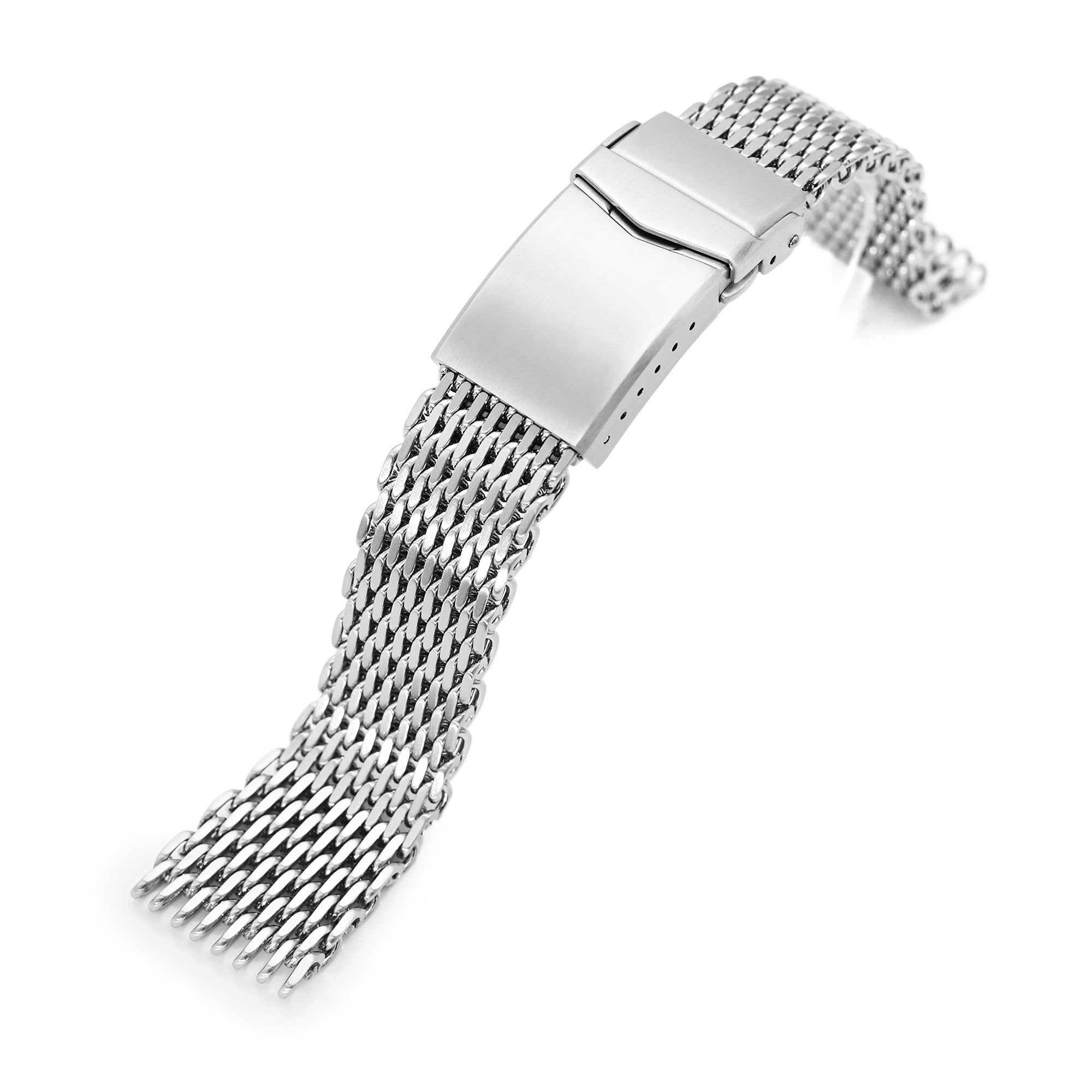 "20mm Tapered ""SHARK"" Mesh Band Stainless Steel Watch Bracelet V-Clasp Polished Strapcode Watch Bands"
