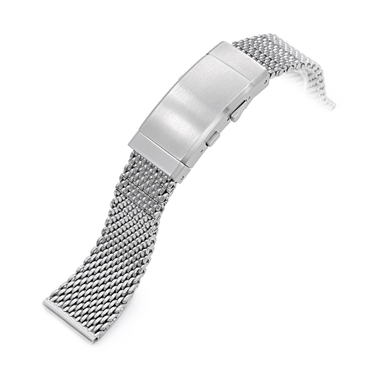 20mm 22mm Solid End Massy Mesh Band Stainless Steel Watch Bracelet Wetsuit Ratchet Buckle Brushed Strapcode Watch Bands