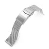 20mm 22mm Solid End Massy Mesh Band Stainless Steel Watch Bracelet V-Clasp Polished Strapcode Watch Bands