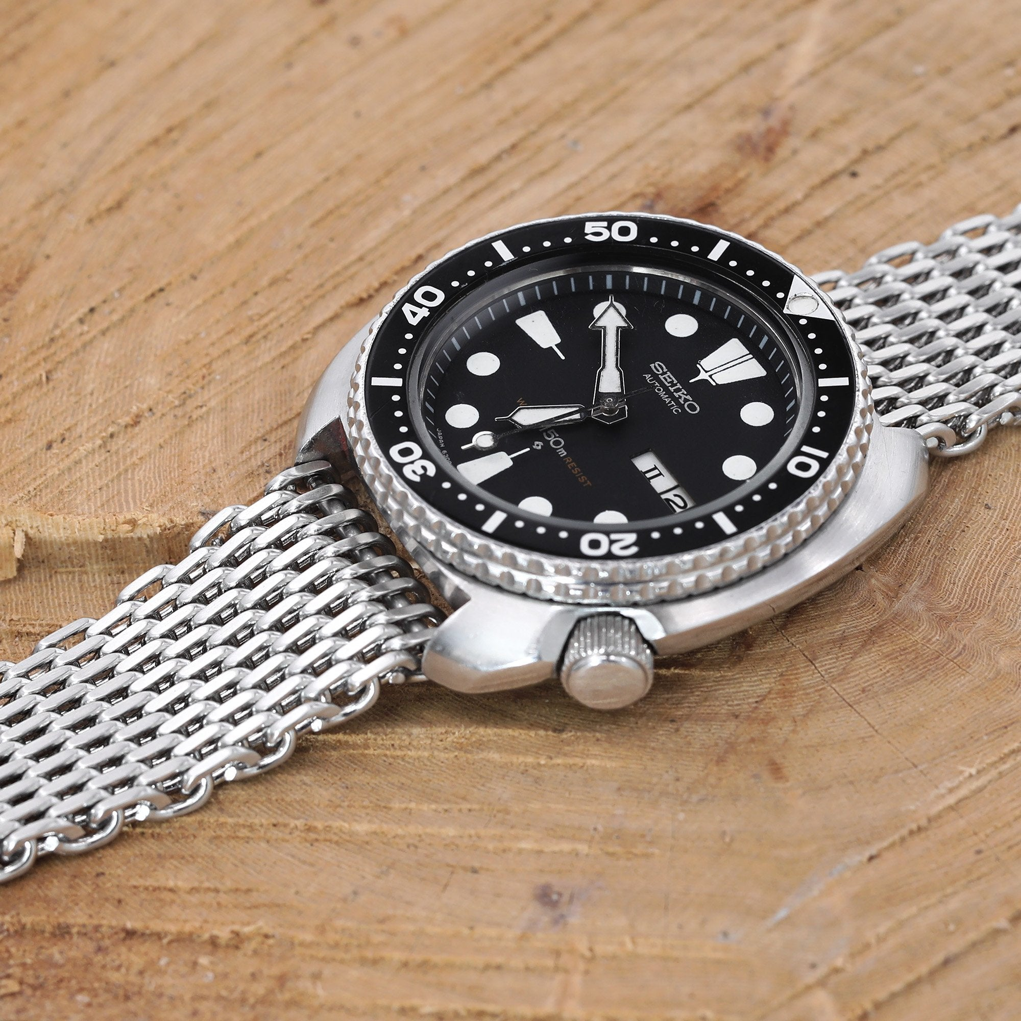 "22mm Tapered ""SHARK"" Mesh Band Stainless Steel Watch Bracelet V-Clasp Brushed Strapcode Watch Bands"