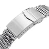 "22mm Tapered ""SHARK"" Mesh Band Stainless Steel Watch Bracelet V-Clasp Polished Strapcode Watch Bands"