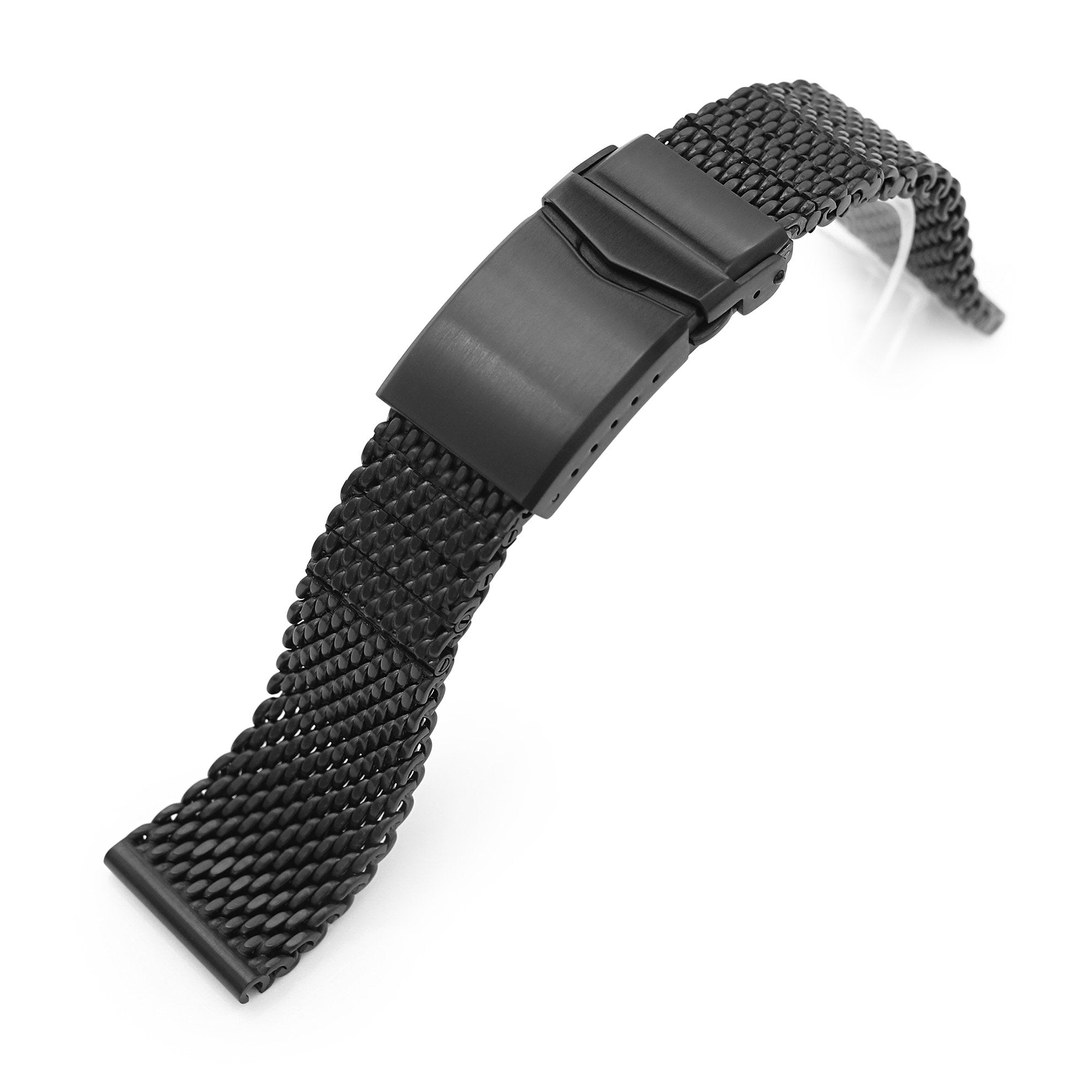20mm 22mm Solid End Massy Mesh Band Stainless Steel Watch Bracelet V-Clasp PVD Black Strapcode Watch Bands