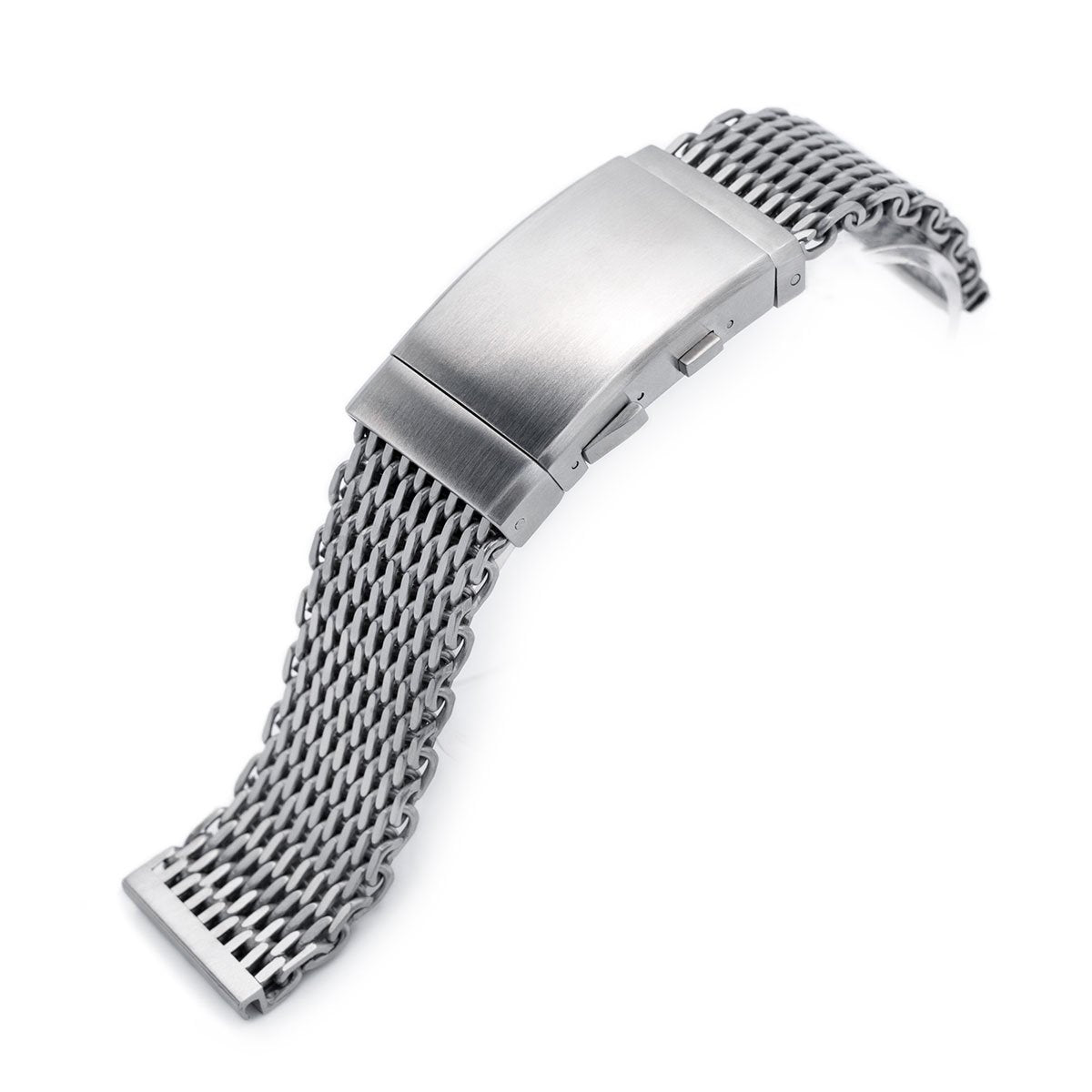 22mm Winghead SHARK Mesh Band Stainless Steel Watch Bracelet Wetsuit Ratchet Buckle Brushed Strapcode Watch Bands