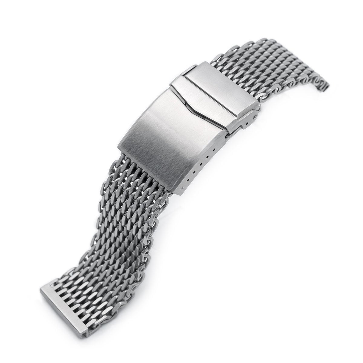 22mm Winghead SHARK Mesh Band Stainless Steel Watch Bracelet V-Clasp Brushed Strapcode Watch Bands