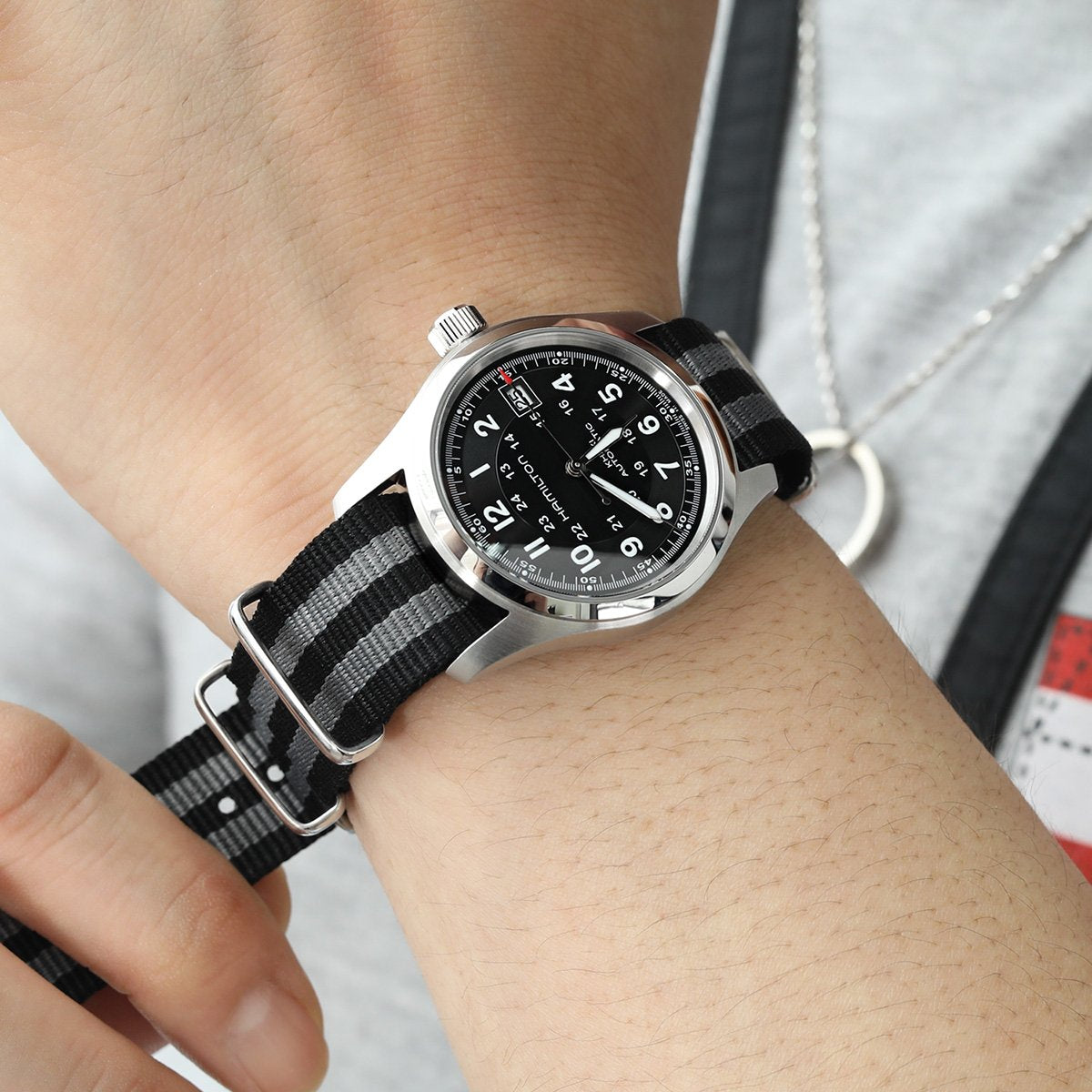 20mm or 22mm G10 Nato James Bond Heavy Nylon Strap Brushed Buckle NYJ Double Black & Grey Strapcode Watch Bands