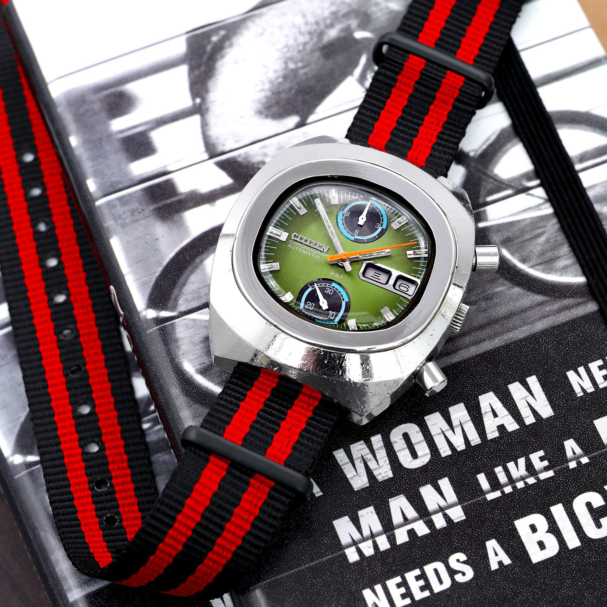 18mm 20mm or 22mm G10 Nato James Bond Heavy Nylon Strap PVD Black Buckle J03 Double Black & Red Strapcode Watch Bands