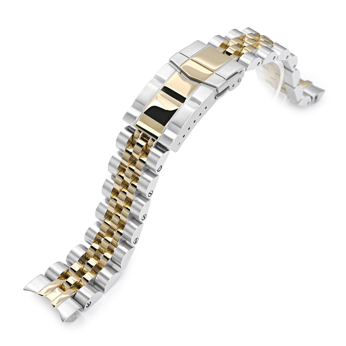 20mm Angus-J Louis 316L Stainless Steel Watch Bracelet for Seiko SARB035 Two Tone IP Gold SUB Clasp Strapcode Watch Bands