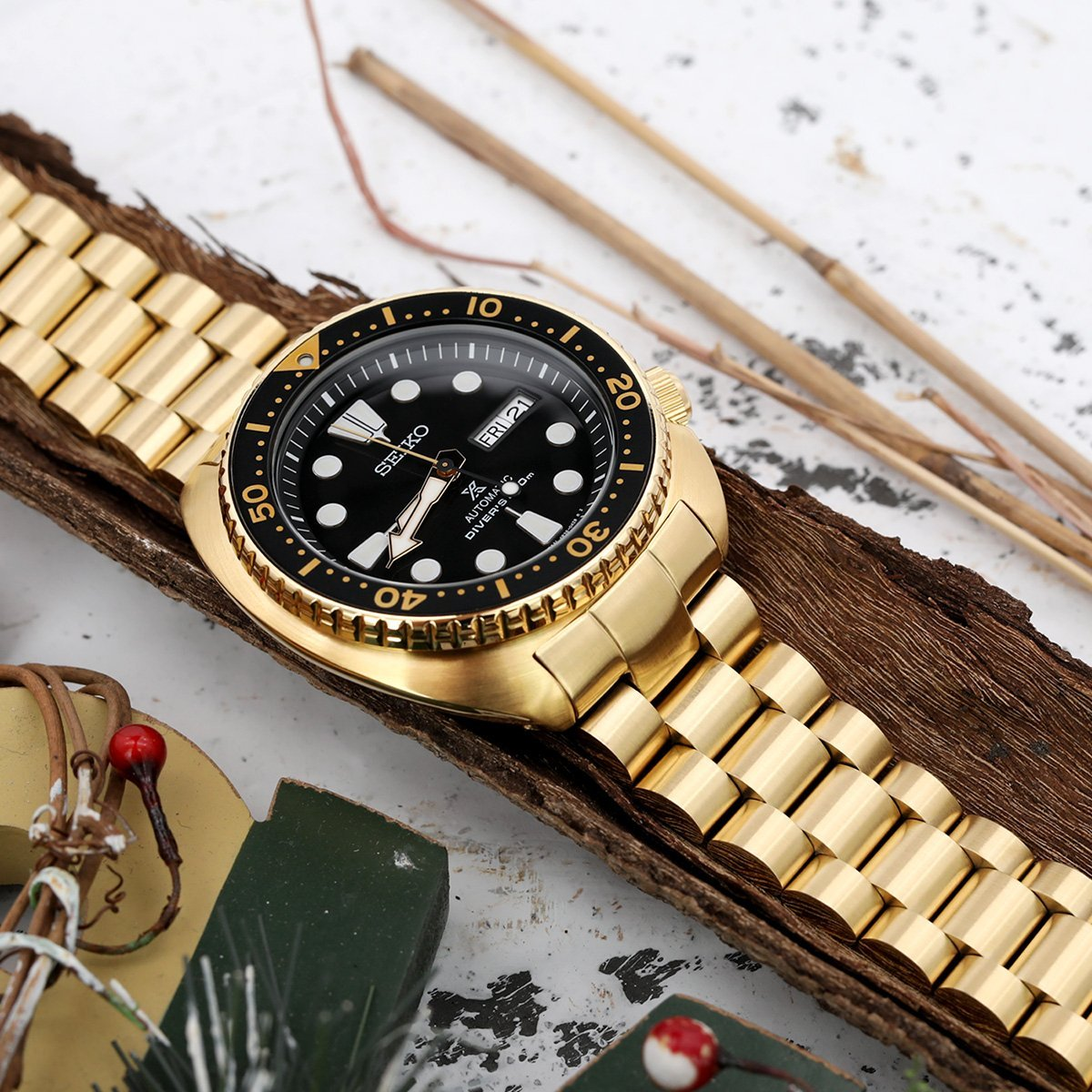 22mm Endmill 316L Stainless Steel Watch Bracelet for Seiko New Turtles SRPC44 SUB Clasp full IP Gold Strapcode Watch Bands