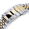 22mm Super-J Louis JUB 316L Stainless Steel Watch Bracelet for Seiko New Turtles SRP777, Two Tone IP Gold SUB Clasp Strapcode Watch Bands