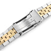 22mm Angus-J Louis 316L Stainless Steel Watch Bracelet Straight End Two Tone Brushed with IP Gold Center SUB Clasp Strapcode Watch Bands