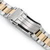 22mm Super-O Boyer 316L Stainless Steel Watch Bracelet for Orient Triton Two Tone Brushed with IP Gold Center SUB Clasp Strapcode Watch Bands