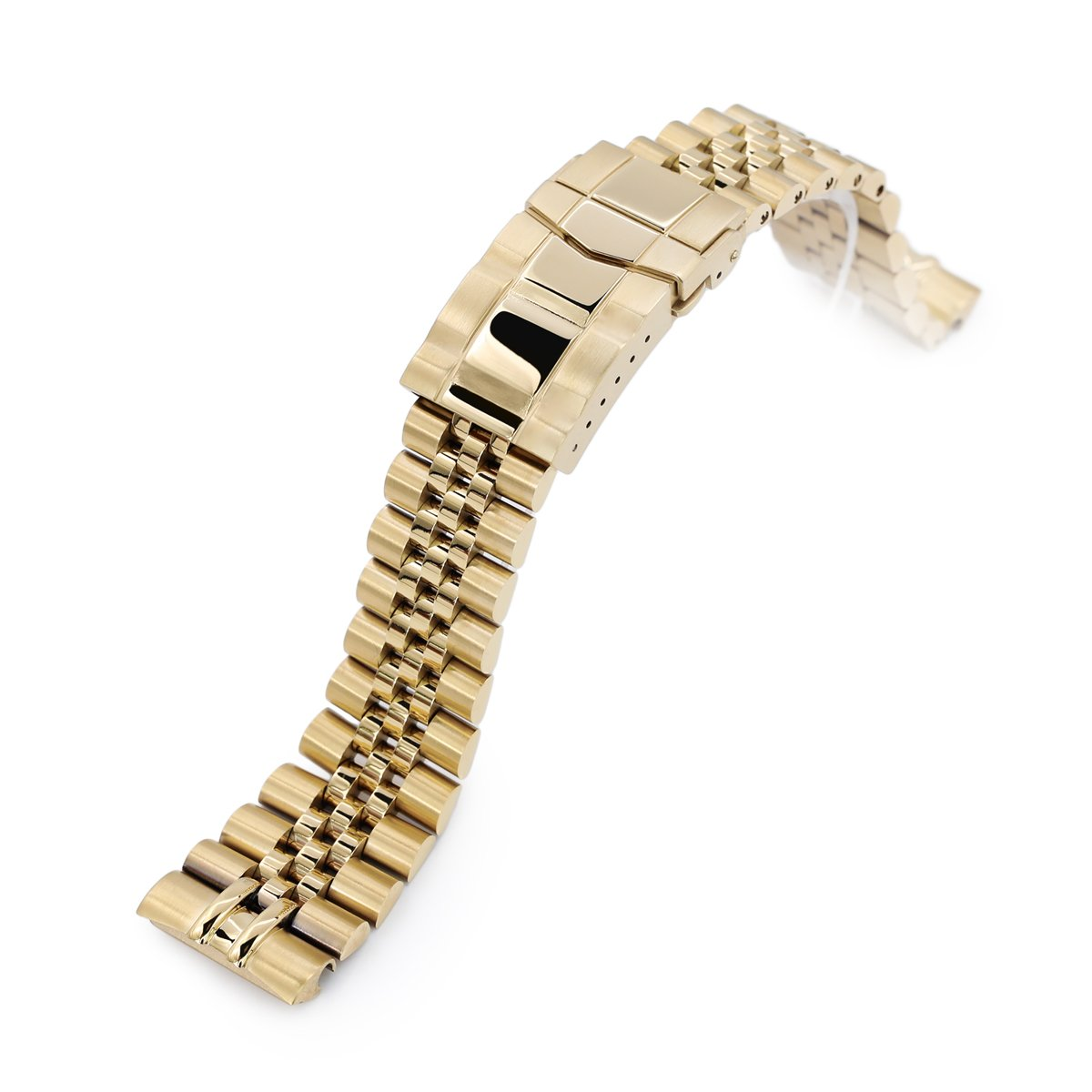 22mm Super-J Louis 316L Stainless Steel Watch Bracelet for Seiko Gold Turtle SRPC44 SUB Clasp full IP Gold Strapcode Watch Bands