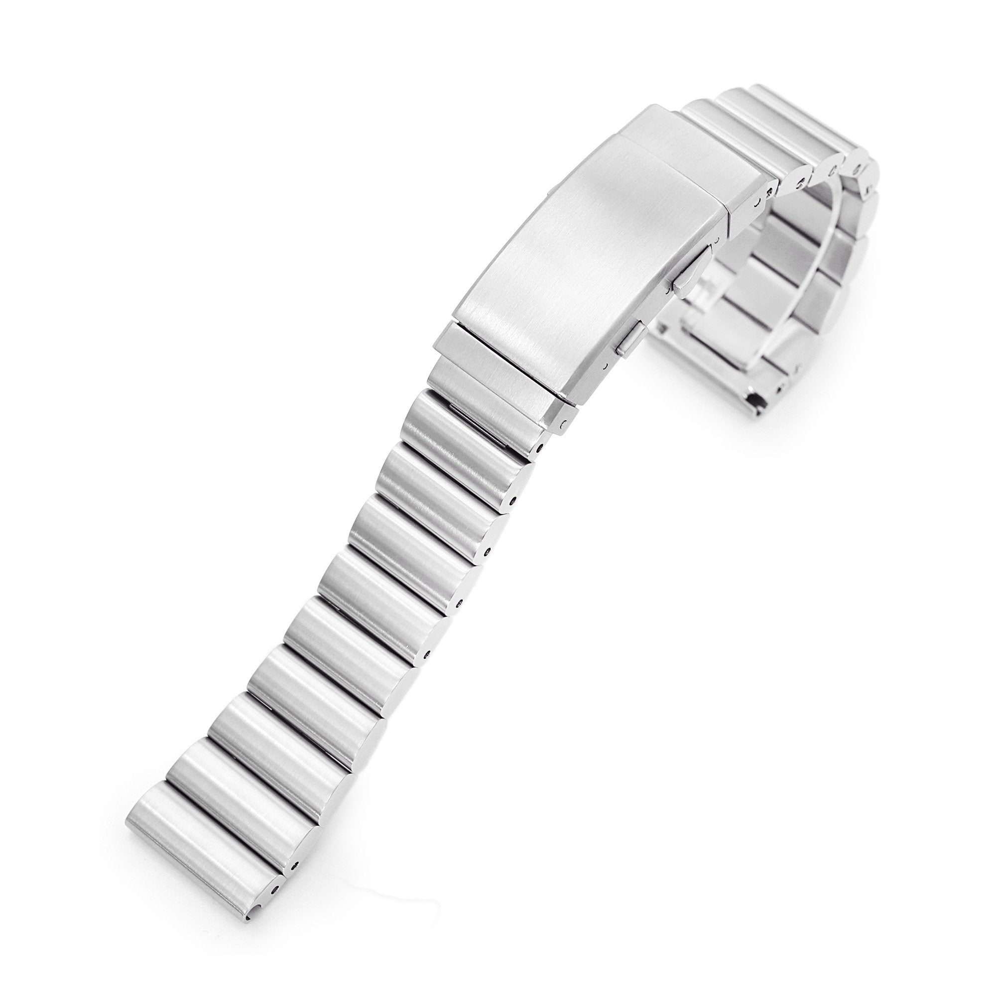 22mm Bandoleer 316L Stainless Steel Watch Bracelet Straight End Brushed Wetsuit Ratchet Buckle Strapcode Watch Bands