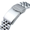 22mm Angus-J Louis 316L Stainless Steel Watch Bracelet for Seiko 5 Brushed V-Clasp Strapcode Watch Bands