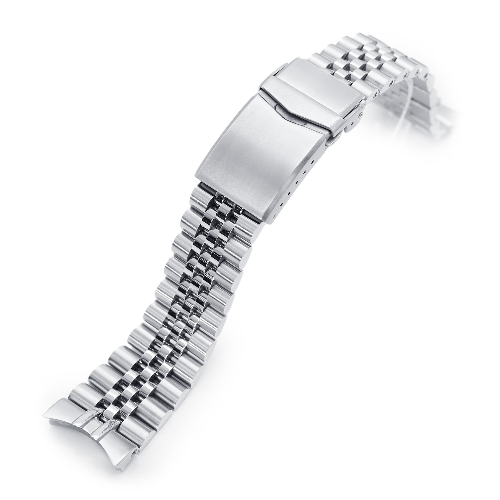 22mm Super-J Louis 316L Stainless Steel Watch Bracelet for Orient Kamasu Brushed V-Clasp Strapcode Watch Bands