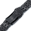 22mm Angus-J Louis 316L Stainless Steel Watch Bracelet Straight End PVD Black V-Clasp Strapcode Watch Bands