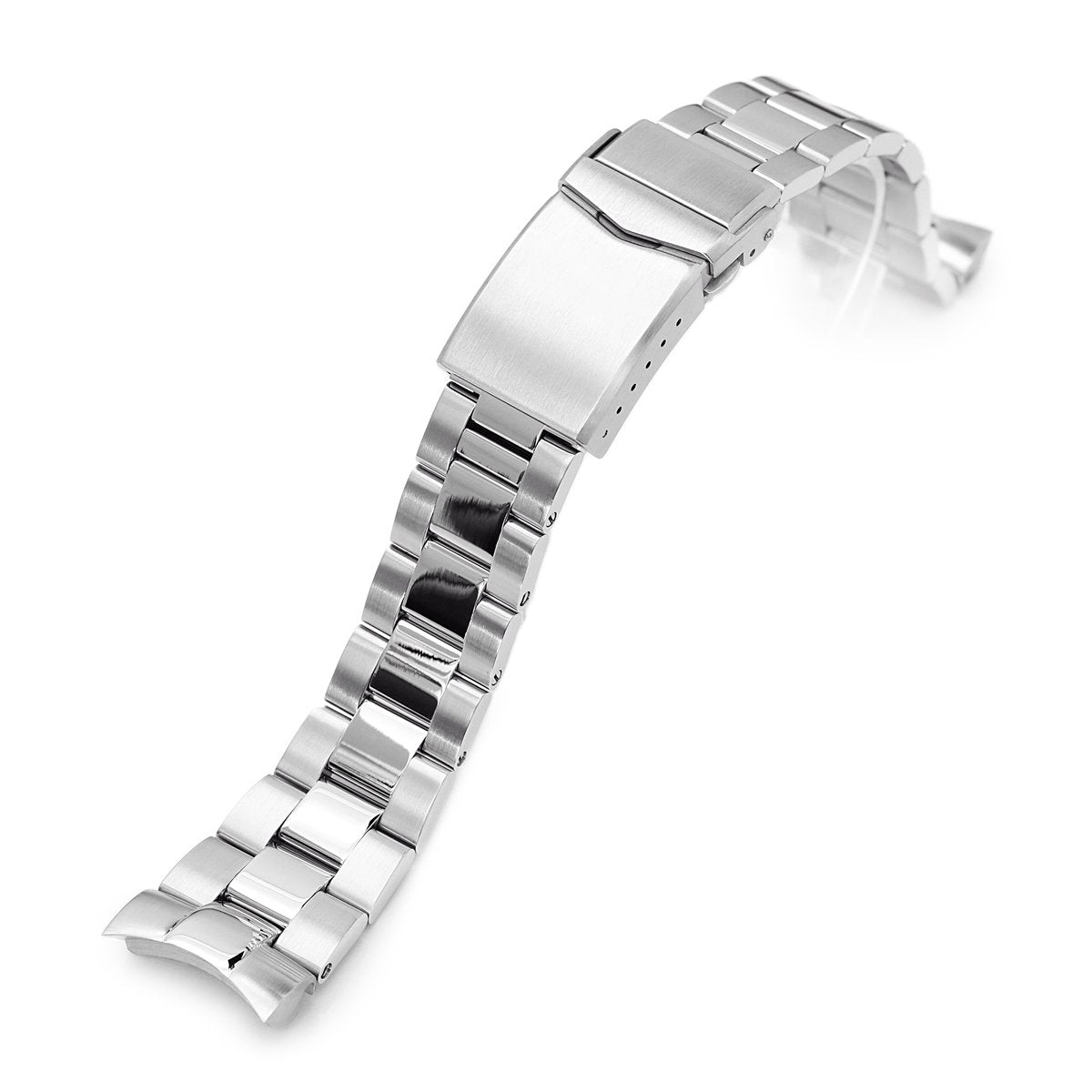 22mm Super-O Boyer 316L Stainless Steel Watch Bracelet for Orient Mako II Brushed and Polished V-Clasp Strapcode Watch Bands