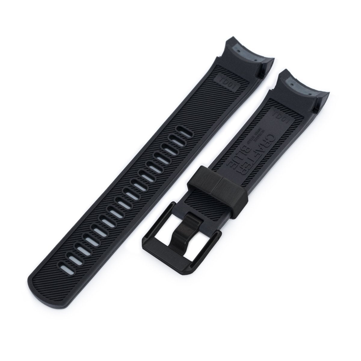 22mm Crafter Blue Black Rubber Curved Lug Watch Strap for TUD BB M79230 PVD Black Buckle Strapcode Watch Bands