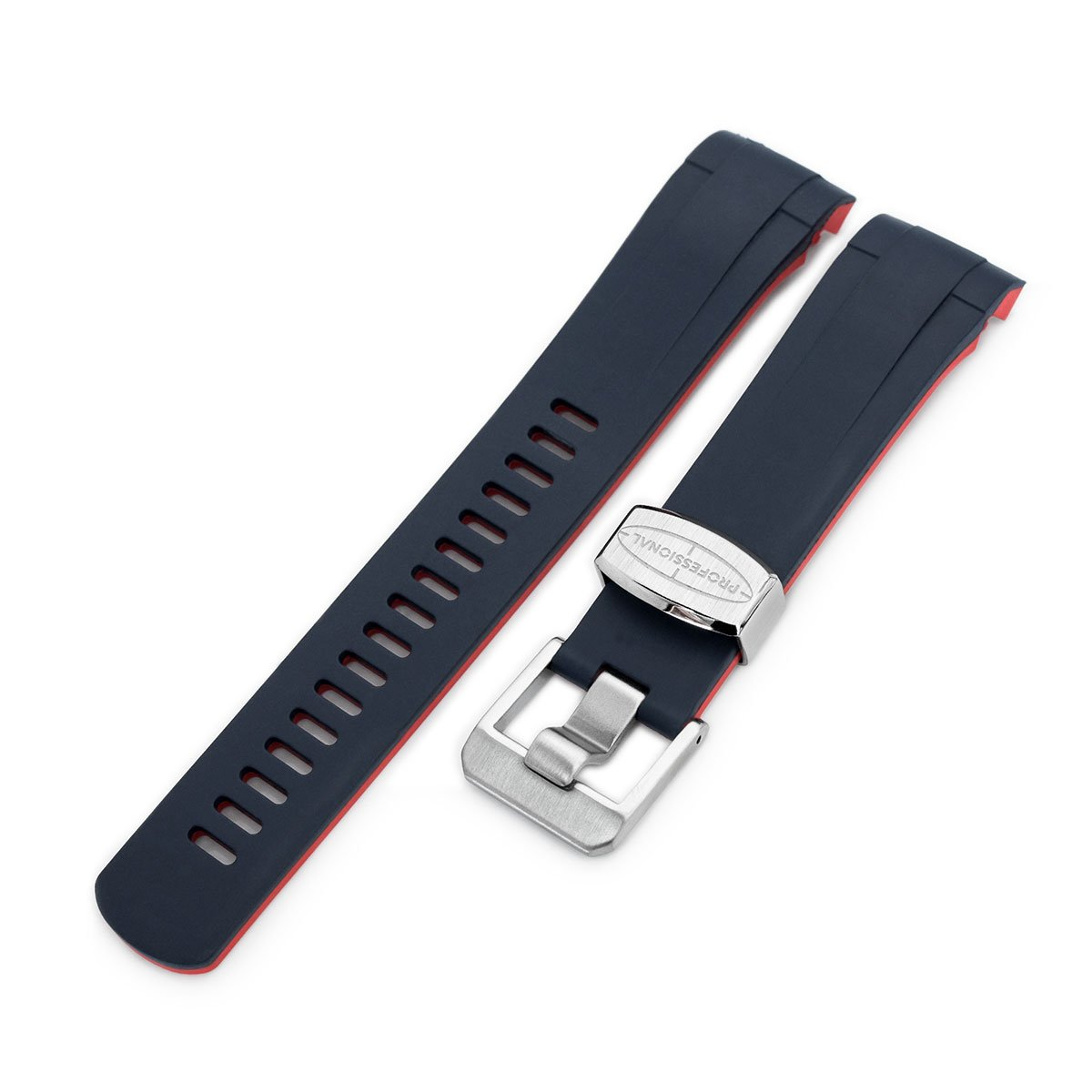 22mm Crafter Blue Dual Color Blue & Red Rubber Curved Lug Watch Strap for TUD BB M79230 Strapcode Watch Bands