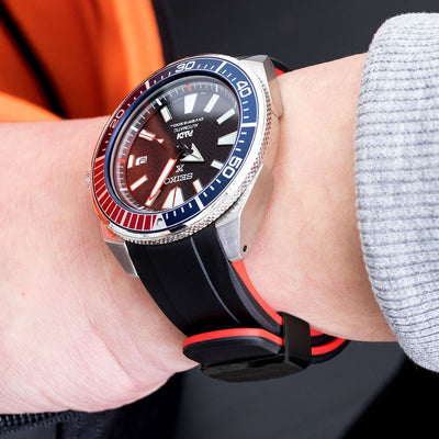 22mm Crafter Blue - Dual Color Red & Back Rubber Curved Lug Watch Strap for Seiko Samurai SRPB51, PVD Black Buckle