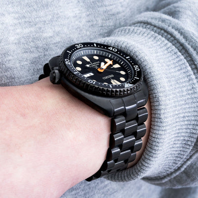 22mm Endmill, SEIKO PROSPEX Black Series Turtle Limited Edition SRPC49K1 PVD Black watch band