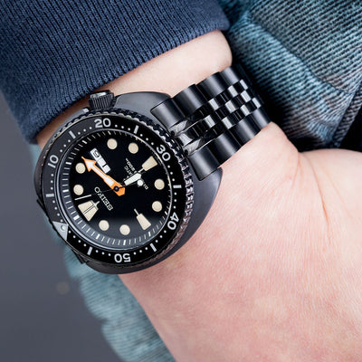 22mm ANGUS Jubilee, SEIKO PROSPEX Black Series Turtle Limited Edition SRPC49K1 PVD Black watch band