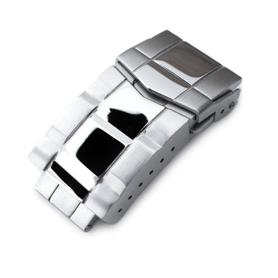 18mm Solid 316L Stainless Steel Double Locks SUB Diver Clasp, Button Control, Polished & Brushed - Strapcode
