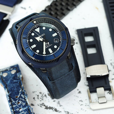 22mm Italian Handmade Bund Military Style Double-layer Watch Strap, Navy Blue