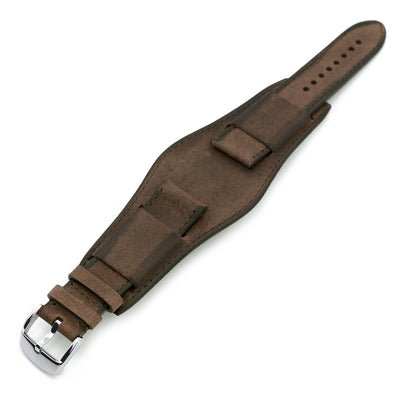 22mm Italian Handmade Bund Military Style Double-layer Watch Strap Dark Brown Strapcode Watch Bands