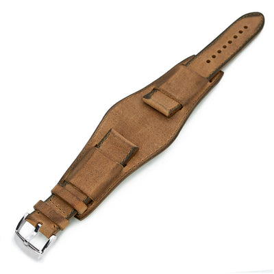 22mm Italian Handmade Bund Military Style Double-layer Watch Strap Brown Strapcode Watch Bands