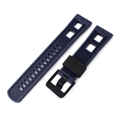 22mm Crafter Blue - Straight LugNavy Blue Rubber Watch Band, PVD Black Buckle - Strapcode