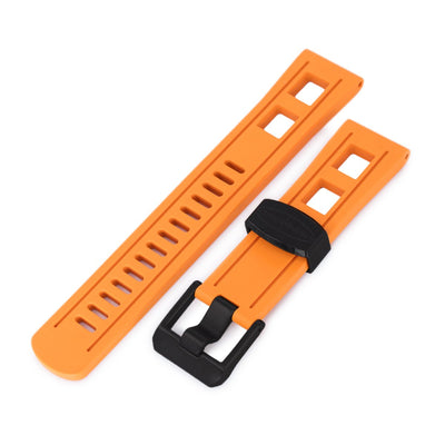 22mm Crafter Blue - Straight Lug Orange Rubber Watch Band, PVD Black Buckle