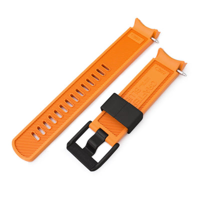 20mm Crafter Blue - Orange Rubber Curved Lug Watch Band for Seiko Sumo SBDC001, PVD Black Buckle - Strapcode