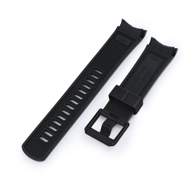 22mm Crafter Blue - Black Rubber Curved Lug Watch Band for Seiko Shogun SBDC007, PVD Black Buckle