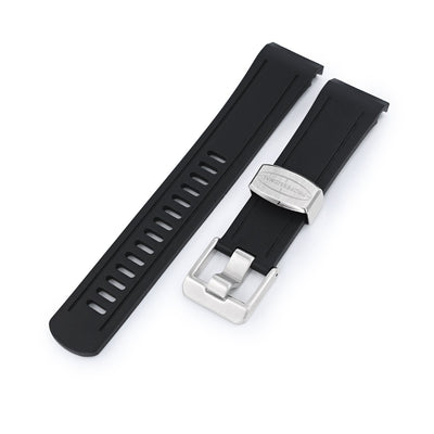 22mm Crafter Blue - Black Rubber Curved Lug Watch Band for Seiko Shogun SBDC007