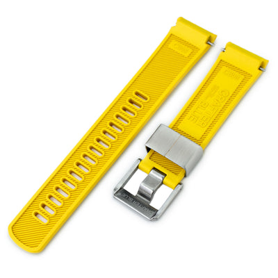 22mm Crafter Blue - Yellow Rubber Curved Lug Watch Band for Seiko Turtle SRP777