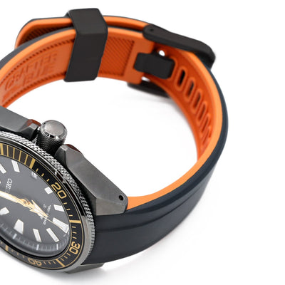 22mm Crafter Blue - Dual Color Black & Orange Rubber Curved Lug Watch Strap for Seiko Samurai SRPB51, PVD Black Buckle