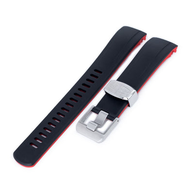 Curved End Rubber Strap for Seiko Samurai SRPB51, Dual Color Curved Black & Red