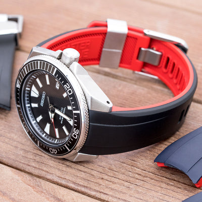 22mm Crafter Blue - Dual Color Red , Black Rubber Curved Lug Watch Strap for Seiko Samurai SRPB51