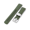 22mm Crafter Blue CB10 Military Green Rubber Curved Lug Watch Band for Seiko 5 Strapcode Watch Bands