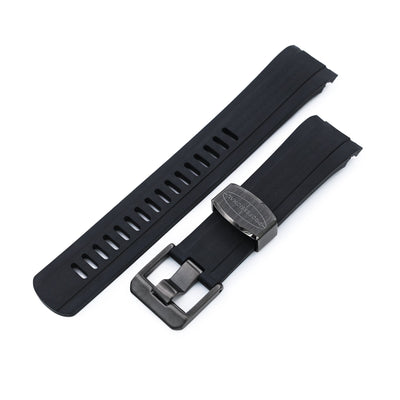 22mm Crafter Blue CB10 Black with Carbon Texture Center Rubber Curved Lug Watch Band for Seiko 5 Charcoal Black Buckle Strapcode Watch Bands